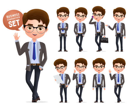 Business man vector character set. Male business characters happy standing, talking and waiving hand and in different pose isolated in white background. Vector illustration. Foto de archivo - 129173354