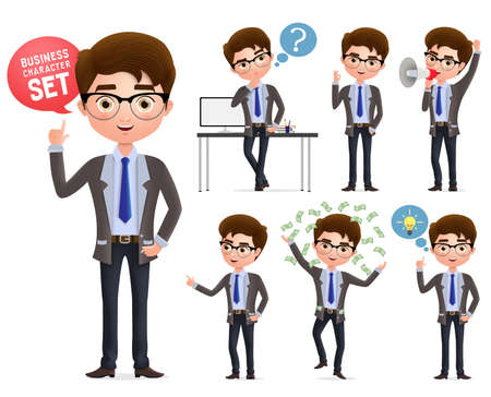 Male business characters set. Businessman professional character talking, standing and thinking in different pose and gesture isolated in white background. Vector illustration. Foto de archivo - 129173356