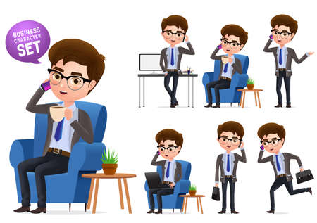 Business manager vector characters set. Sitting business manager character talking in mobile phone isolated in white background. Vector Illustration. Foto de archivo - 129173358