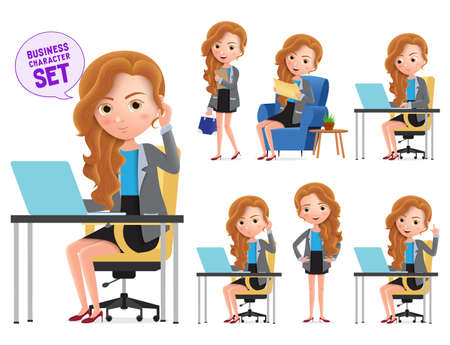 Business woman in desk vector characters set. Businesswoman office manager character happy working in office desk isolated in white background. Vector illustration. Illustration