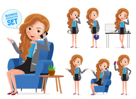 Businesswoman vector characters set. Sitting business woman young office manager character talking on mobile phone isolated in white background, Vector illustration. Foto de archivo - 129173359