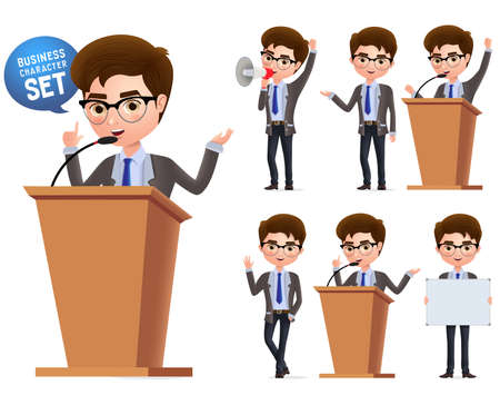 Male politician vector characters set. Business character  or politician speaking politics and standing in podium isolated with microphone in white background. Vector illustration. Foto de archivo - 129173363