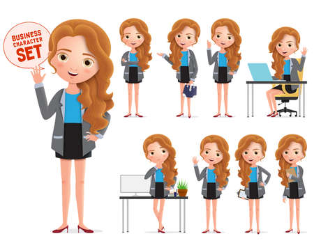 Businesswoman vector character set. Business woman characters wearing professional office attire standing and sitting in different pose in white background. Vector illustration. 向量圖像