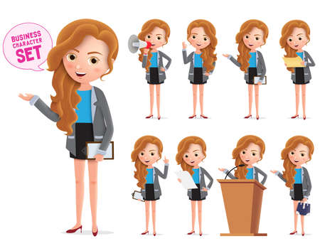 Business woman vector characters set. Businesswoman business character standing and talking about business isolated in white background. Vector illustration. Foto de archivo - 129173364