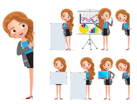 Business woman character vector set. Female businesswoman characters holding whiteboard and showing presentation with happy smile isolated in white background. Vector illustration. Foto de archivo - 129173361