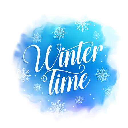 Winter time text vector design for greetings card in blue watercolor style background with snowflakes. Vector illustration. Çizim