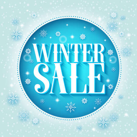 Winter sale vector design 3D text in a blue circle and snow background with different snowflakes for season promotion. Vector illustration.