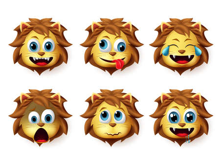 Emoji lion vector set. Lion animals emoji in happy and crazy facial expression isolated in white background. Vector illustration 3d realistic. Foto de archivo - 129173367