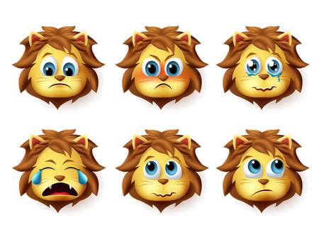 Conjunto de vector de emoji animal de león. Lindo emoji de cara de leones en emociones y expresiones tristes y enojadas aisladas en fondo blanco. Ilustración vectorial.