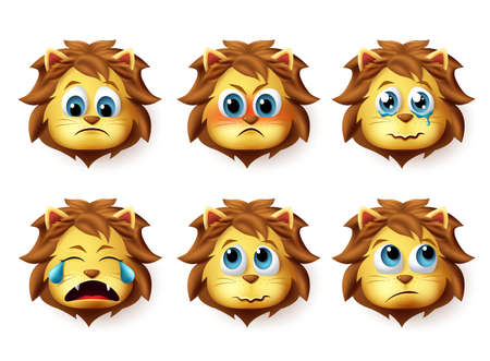 Ensemble de vecteurs emoji animaux Lion. Emoji mignon de lions face à des émotions tristes et en colère et des expressions isolées sur fond blanc. Illustration vectorielle.