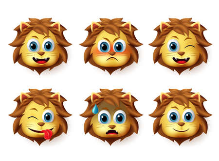 Lion animal emoticon vector set. Lion animals head emoji set with happy and funny face expression and emotion isolated in white background. Vector illustration. Foto de archivo - 129173377
