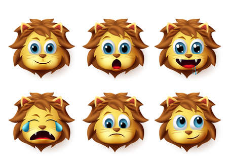 Lion animal emoticon vector set. Lions emoji and emoticon in cute happy facial expression isolated in white background. Vector illustration 3d realistic. Foto de archivo - 129173376