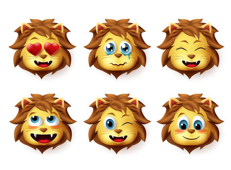 Lion animal emoji vector set. Lions emoticons with funny and inlove facial expressions for design elements isolated in white background. Vector illustration. Foto de archivo - 129173375