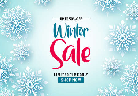 Winter sale vector banner background. Winter sale text and falling snowflakes in white background for seasonal promotion. Vector illustration.
