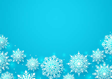 Winter snow vector background. Snowflakes of white color and empty space for text for greeting card and seasonal promotion. Vector Illustration.