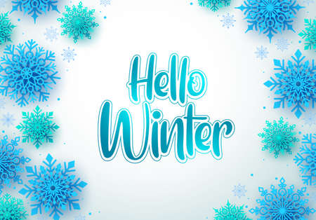 Hello winter vector greeting card background. Hello winter text and snowflakes in empty white space for message. Vector Illustration.