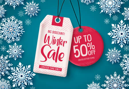 Winter sale tags vector banner. Sale tags hanging with falling snowflakes in blue background for business promotions. Vector illustration. Stock Illustratie