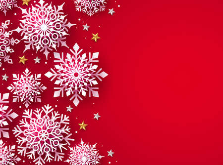 Winter snow for christmas vector background. Christmas snowflakes in red background and empty space for text. Vector illustration.