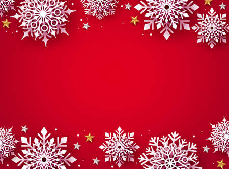 Christmas snowflakes background vector. Winter white snow  in red background and empty space for christmas text and seasonal promotion. Vector illustration.