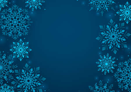 Winter snowflakes vector background. Winter snow background in blue color and blank space for greeting text. Vector illustration.
