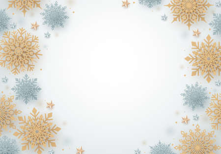 Winter snow vector background. Christmas snowflakes of gold and silver and white empty space for text. Vector illustration.