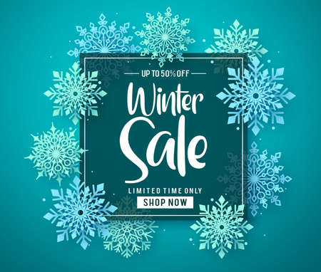 Winter sale vector banner template with sale text in frame for shopping promotion and snowflakes on blue background design. Vector illustration. Illustration