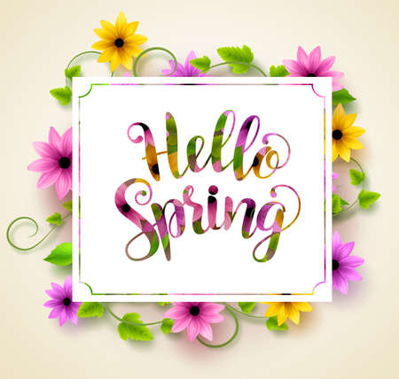 Hello spring vector background design with paper cut typography in a colorful flowers and vines. Vector illustration. 일러스트