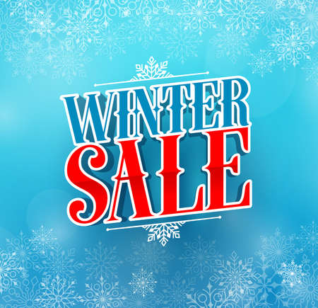 Winter sale title vector design for holiday promotion in blue color winter snow background. Vector illustration.
