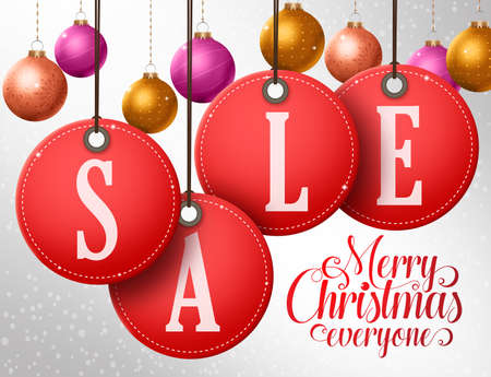 Christmas sale vector design in hanging red sale tags with colorful christmas balls in winter snowflakes background. Vector illustration.