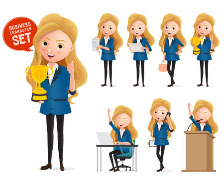 Business woman winning trophy characters vector set. Business manager character happy standing and holding golden cup trophy award isolated in white background. Vector illustration.