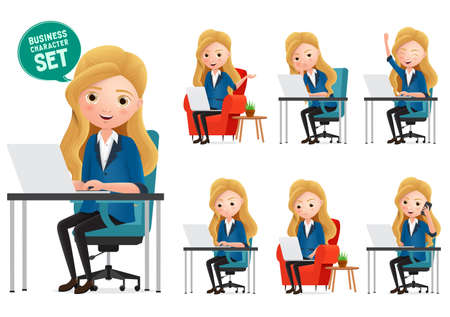 Female desk characters vector set. Business woman manager characters working in office desk while sitting and typing in laptop isolated in white background. Vector illustration.