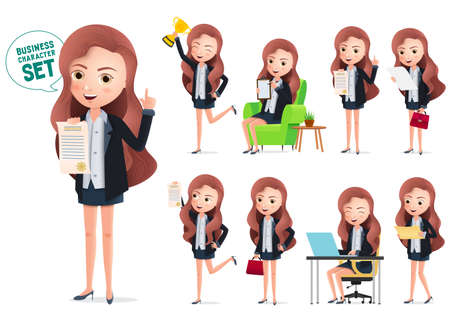 Business woman achievement characters vector set. Business character woman happy holding  certificate and golden trophy award. Vector illustration.