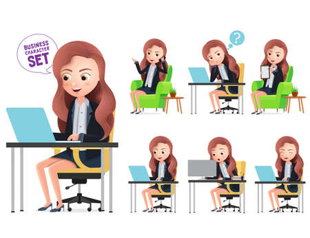 Business characters working in office desk vector set. Female office character typing, calling and thinking while sitting in desk isolated in white background. Vector illustration.
