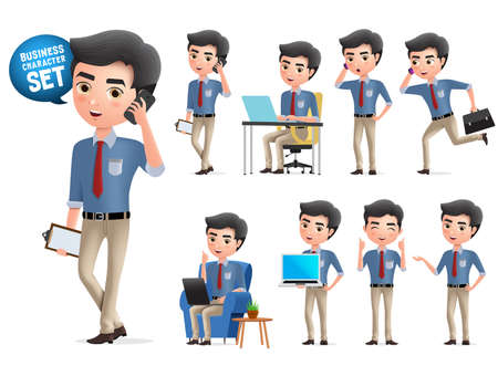 Male business character calling vector set. Standing business man characters calling and talking with mobile phone isolated in white background. Vector illustration.