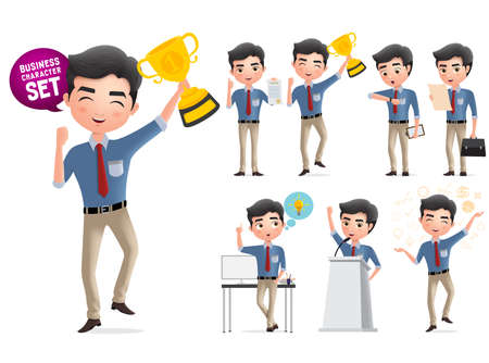 Male business award vector characters set. Business man character standing and happy holding golden cup trophy award for achievement isolated in white background. Vector illustration. Foto de archivo - 129243104