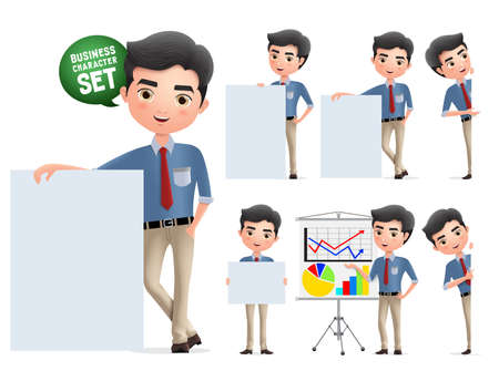 Businessman presentation characters vector set. Business man character with whiteboard presenting and showing sales chart isolated in white background. Vector illustration.