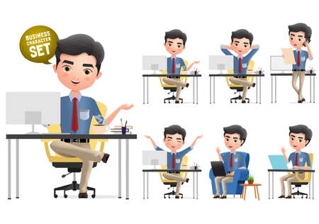 Business man characters in office desk vector set. Business office manager character waving, relaxing and calling in different pose isolated in white background. Vector illustration.