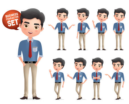 Male professional business characters vector set. Business manager character standing and wearing work attire in different pose and gesture isolated in white background. Vector illustration. Stock Illustratie
