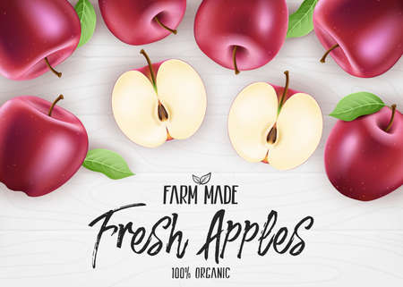 Fresh Red Apples Organic Farm Made. 3D Realistic Whole and Sliced Apples Banner with Leaves on White Wood Background. Vector Mesh Illustration Illustration