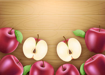 Red Fresh Apples Ripe Fruit 3D Realistic Banner with Leaves and Space for text on Brown Wood Background. Vector Mesh Illustration