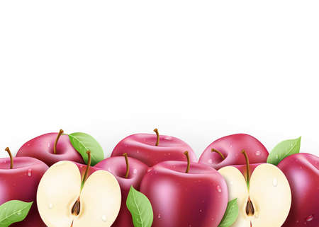 Red Fresh Ripe Apples Sliced and Whole 3D Realistic with Water drops and Leaves in Isolated White Background Vector Illustration Illustration