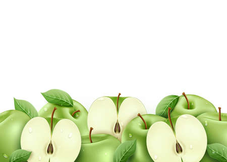Green Fresh Ripe Apples Sliced and Whole 3D Realistic with Water drops and Leaves in Isolated White Background Vector Illustration