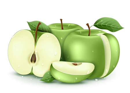 Wet Green Ripe Fresh Apples Sliced and Whole 3D Realistic with Water drops and Leaves In Isolated White Background Vector Illustration Vettoriali