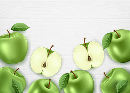 Fresh Green Apples Organic Farm Made. 3D Realistic Whole and Sliced Apples Banner with Leaves on White Wood Background. Vector Mesh Illustration