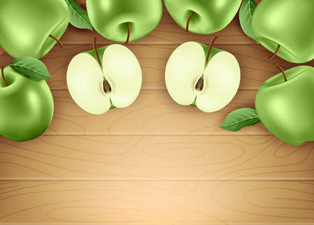 Green Fresh Apples Ripe Fruit 3D Realistic Banner with Leaves and Space for text on Brown Wood Background. Vector Mesh Illustration
