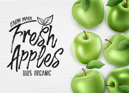 Green Fresh Apples Farm Made Organic 3D Realistic Banner Top View on White Wood Background. Vector Illustration