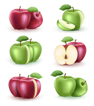 Apple Fresh Ripe Red and Green 3D Realistic Set in Isolated White Background. Vector Illustration