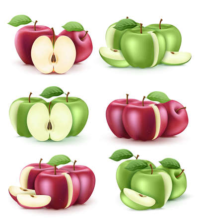 3D Realistic Fresh Red and Green Apple Set in Isolated White Background. Vector Illustration