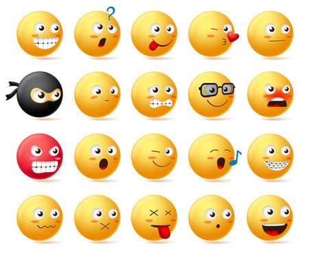 Smileys emoji faces vector character set. Smiley emoticon with yellow face in side view and cute facial expression like sad, scared, angry, happy, funny and shocked isolated in white background. Vector illustration.