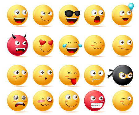 Smileys emoji faces vector set. Smiley emoticons with side view faces character in sad, inlove, silent, dizzy, ninja, angry and happy facial expression isolated in white background. Vector illustration.